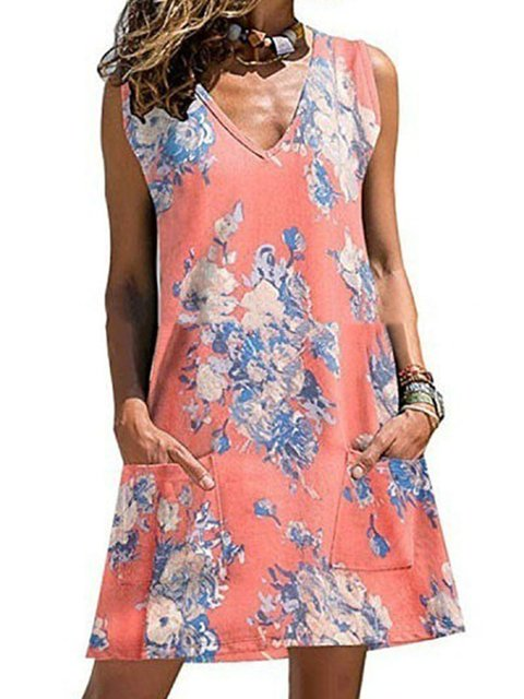 Women Summer Sleeveless Mini Dresses Shift Daily Floral-Print Floral Dresses