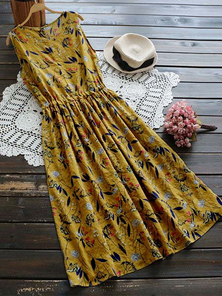 Crew Neck Women Casual Dresses Daily Cotton Floral-Print Dresses