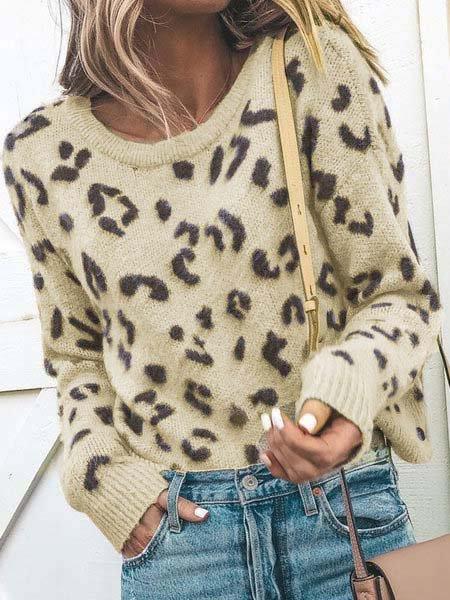 Leopard Print Crew Neck Vintage Sweaters