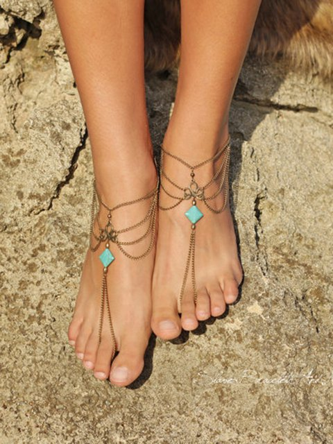 Square Turquoise Multi-layer Tassel Anklets Footchain Accessories