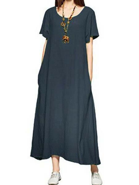 A-line Women Short Sleeve Basic Cotton Paneled Solid Summer Dress