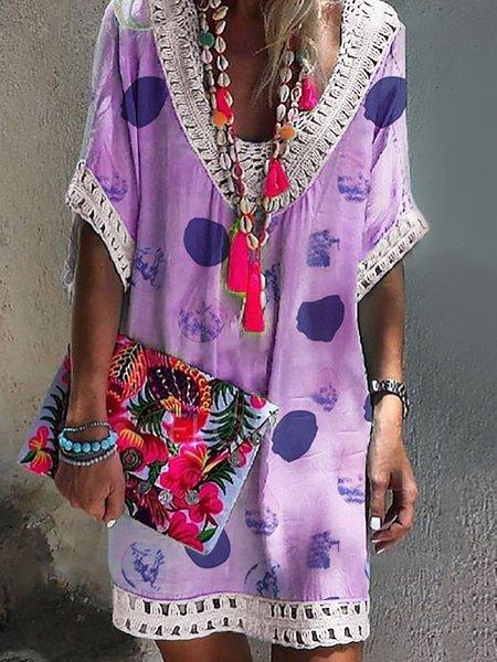 V Neck Women Summer Dresses Shift Daily Paneled Polka Dots Dresses