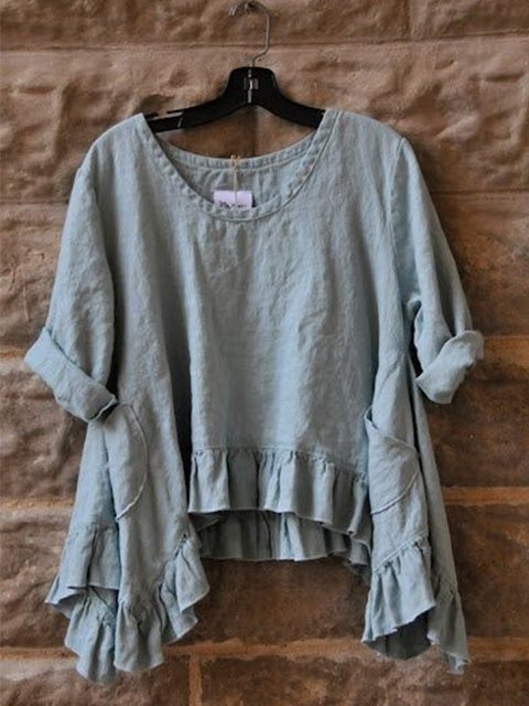 Casual 3/4 Sleeve Round Neck Plus Size Tops With Pockets