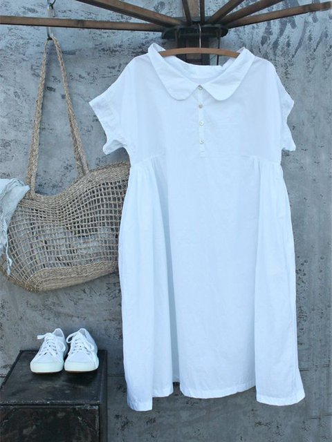 Casual Short Sleeve Round Neck Plus Size Dress