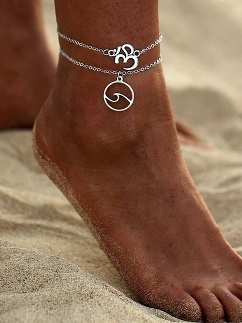 Double-layer Personality Silver Anklets