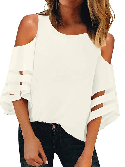 Plus Size Bell Sleeve Cold Shoulder Women Summer Blouses