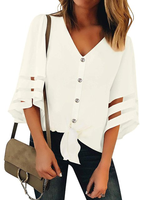 Plus Size Patchwork Bell Sleeve Women Summer Blouses