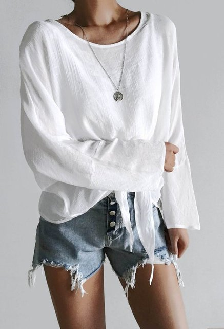 Casual Plain Knot Front Long Sleeve Blouse