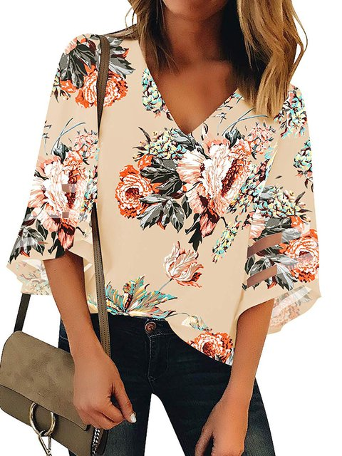 Floral Print Plus Size Bell Sleeve Women Summer Blouses