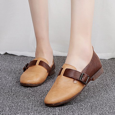 Buckle Leather Soft Flat Casual Slip On Loafers