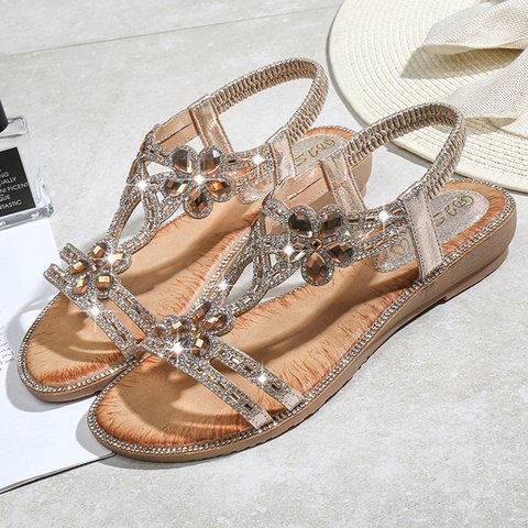 Women's Rhinestone Casual PU Boho Sandals