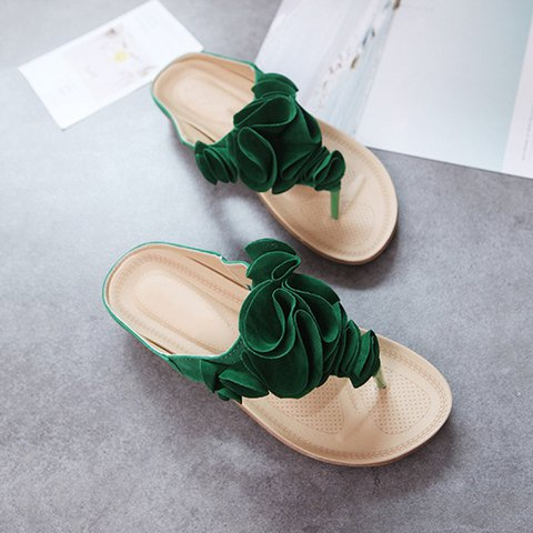 0bed8bcd9e88 Justfashionnow Slippers Black Flip-Flops Casual Flower Flat Heel ...