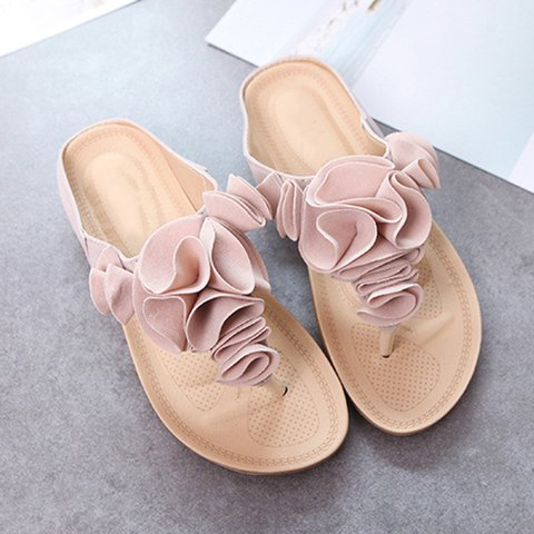 Women Flower Embellished Toe Flat Flip Flops Sandals