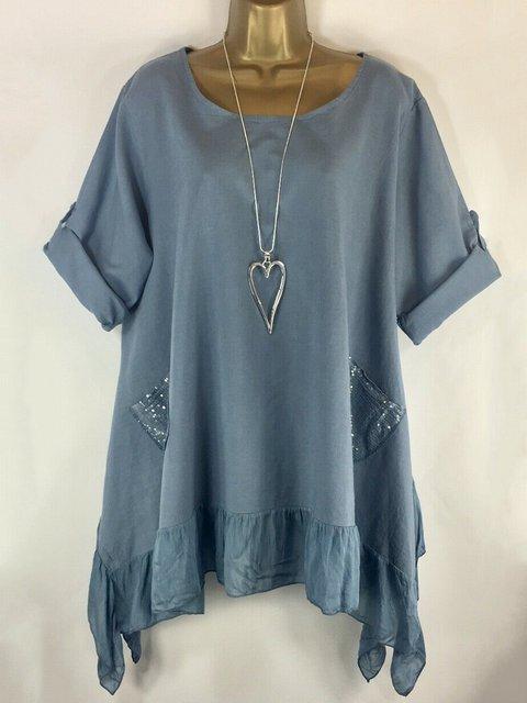 Asymmetric Paneled Sequins Casual T-Shirt