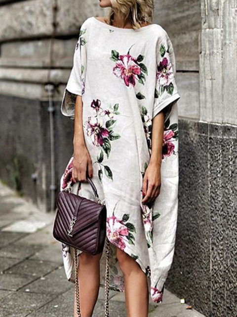 Womens Clothing Summer Dresses Casual Dresses Floral Dresses Daily Crew Neck Short Sleeve Floral-Print  Justfashionnow