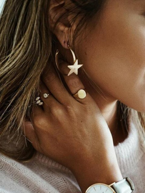 Alloy Simple Star Earrings Women