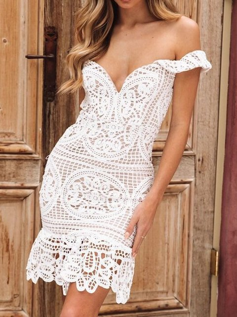 White Women Midi Lace Dresses Sheath Cocktail Plain V Neck Dresses