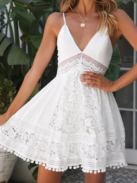 White Women Mini Boho Dresses V Neck Shift Daily Cotton Plain Dresses