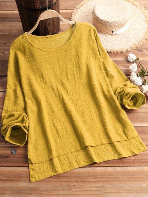 Women Spring Plain Shirts Casual Long Sleeve Cotton-Blend Tops