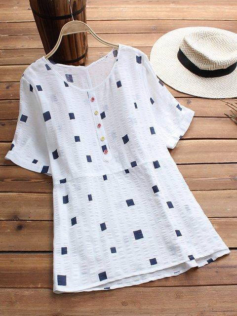 Women Short Sleeve Blouses Geometric Cotton-Blend Tops