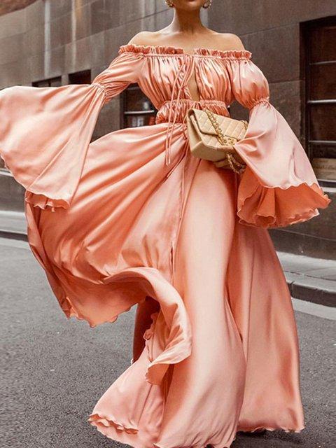 Asymmetric Solid Bell Sleeve Swing Women Maxi Dresses