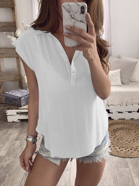 Solid Pleated Short Sleeve Women Summer Polo Blouses