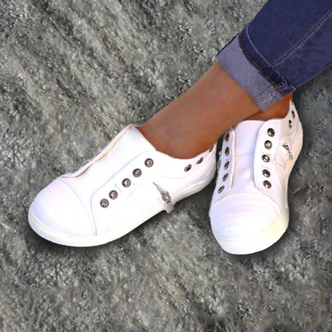 All Season Casual Round Toe Lace-Up Canvas Sneakers