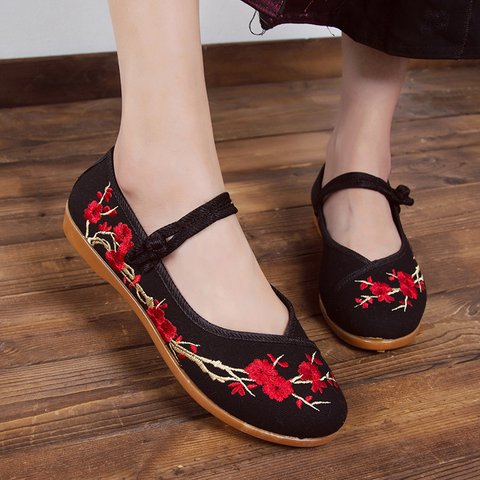 Womens Shoes Slip On Plus Size Flats Flower Round Toe Shoes