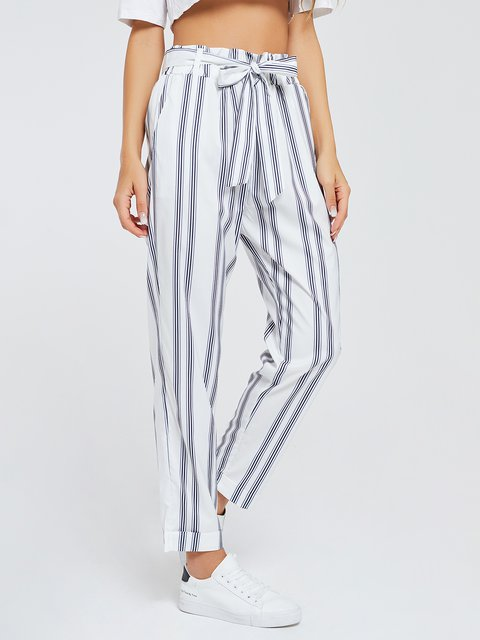 Printed White Casual Paneled Striped Pants