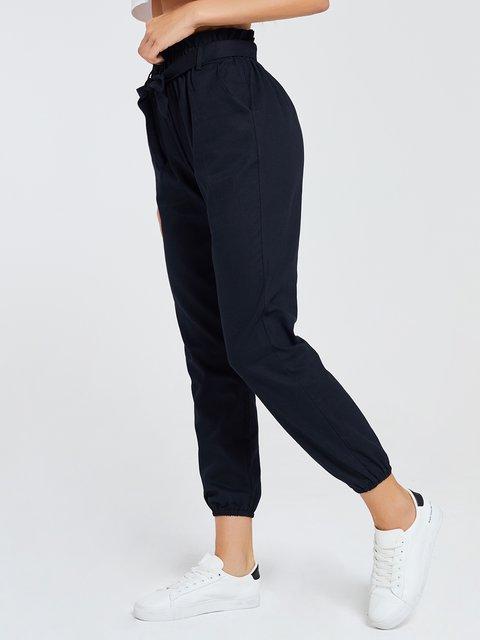 Bow Sports Black Plain Casual Pants