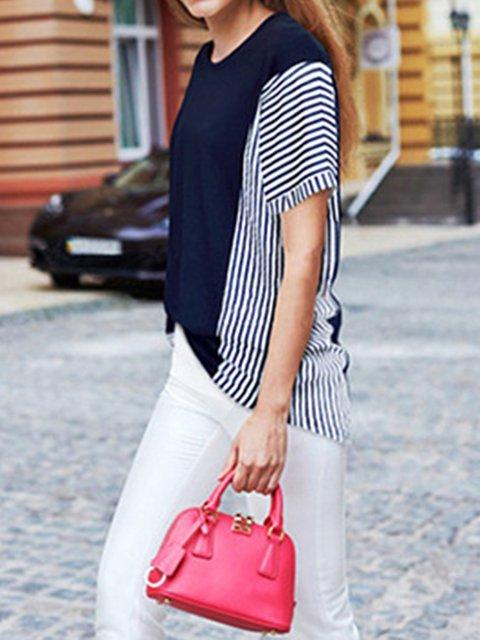 Paneled Short Sleeve Stripes Shirts & Tops