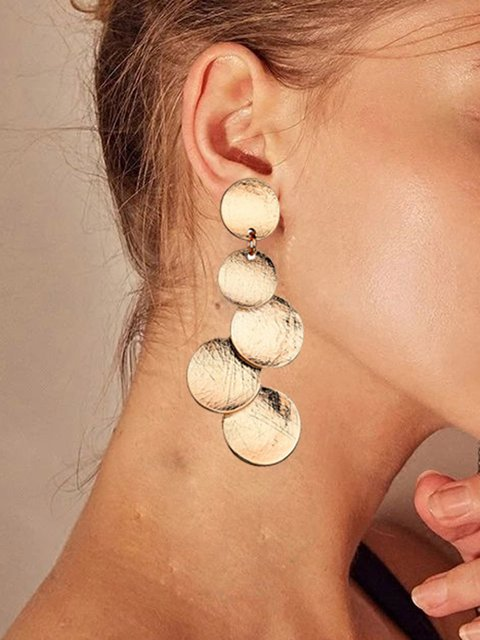 Alloy Long Round Geometric Earrings Women