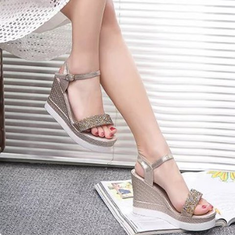 571cceb8f027 Justfashionnow Creepers   Wedges Casual Golden Peep Toe Wedge Heel ...
