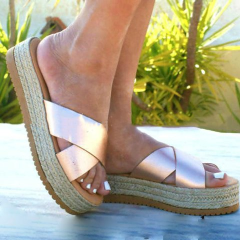 Espadrille Platforms Creepers Slide Sandals