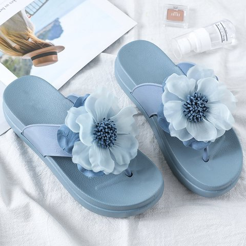 Women Summer Beach Flowers Flat Platform Slippers