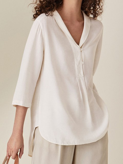 Womens Clothing White 3/4 Sleeve Casual Solid Cotton Shirts