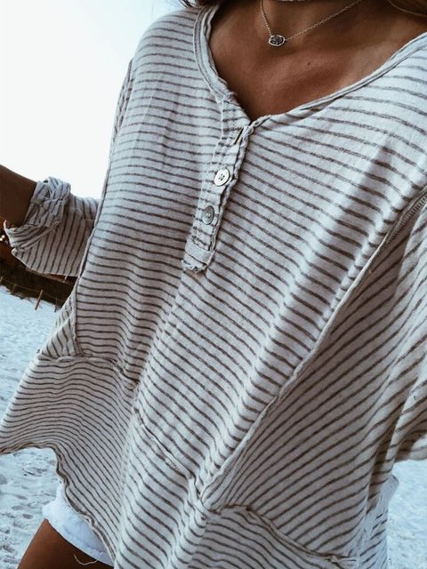 Buttoned Casual V Neck Cotton Shirts & Tops