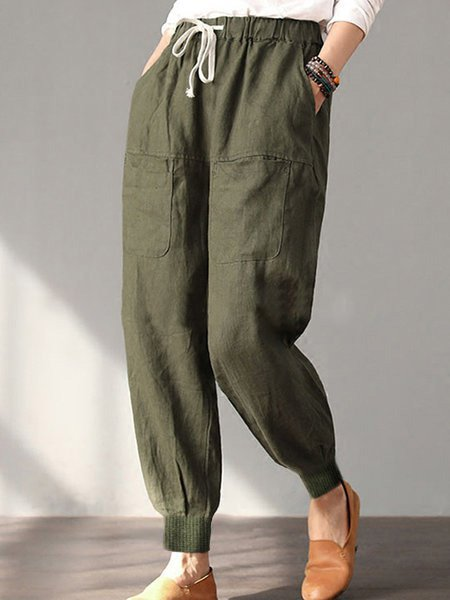 Hot Cotton Solid Pockets Vintage Linen Plus Size Casual Pants