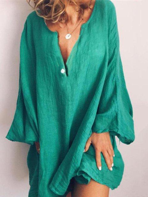 Linen Long Sleeve Sweet Dresses