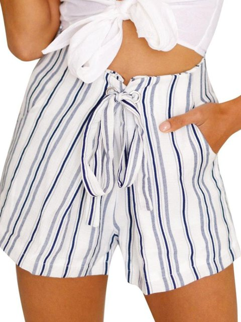 White Cotton Holiday Stripes Pants