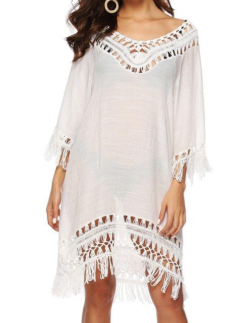 White Women Beach Midi Dresses V Neck  Shift Boho Dresses