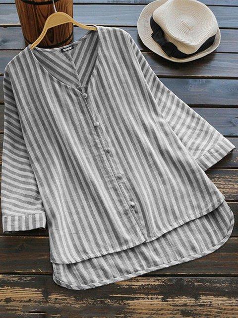 Plus Size Stripes Cotton-Blend Women Blouses