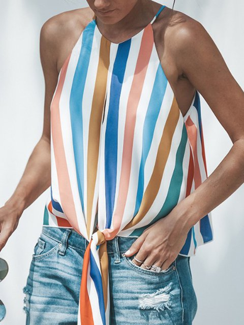 Womens Clothing Multicolor Spaghetti Sleeveless Floral-Print Striped Tanks