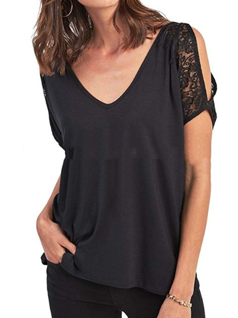 Womens Clothing Solid Guipure Lace Casual T-Shirts