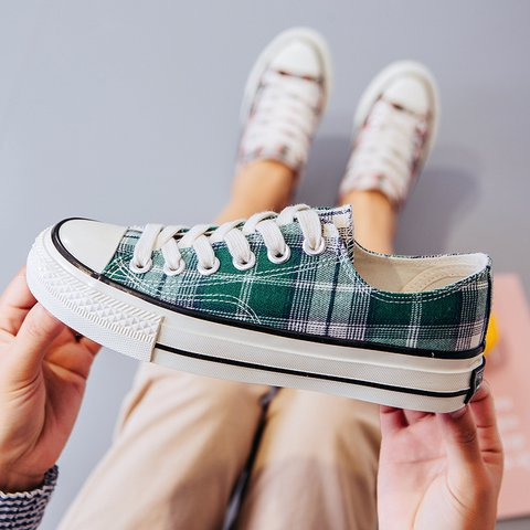 New Grid Canvas Shoes Retro Round Toe Lace-Up Women's Sneakers
