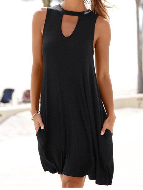 Women Summer Beach Mini Dresses Crew Neck Shift Daily Plain Dresses