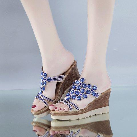 Summer Wedge Heel Open Toe Rhinestone Shoes