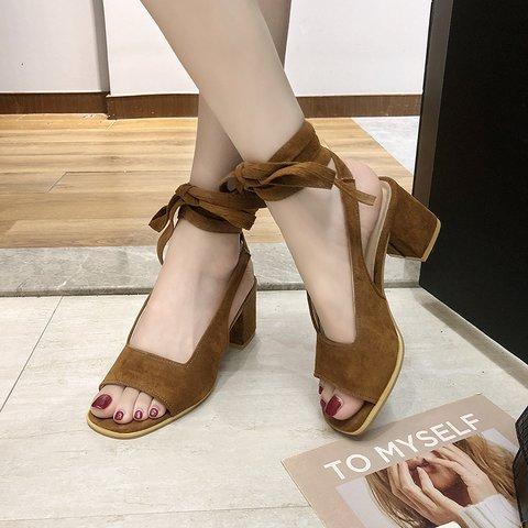 Women Lace-Up Peep Toe Chunky Heel Summer Sandals