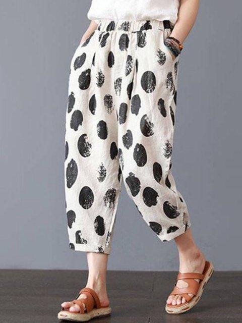 Plus Size Floral Polka Dots Print Casual Women Pants