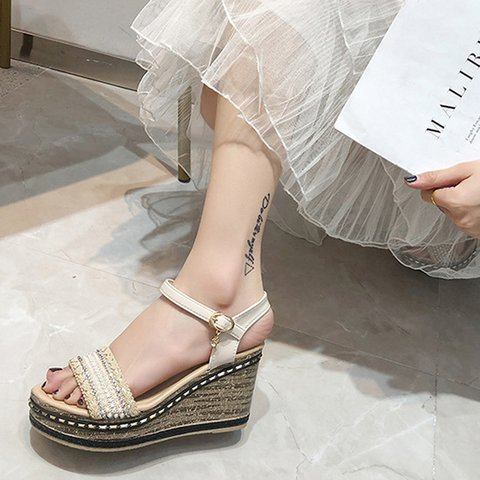 6a5fd67e6b10 Justfashionnow Creepers   Wedges Beige Open Toe Wedge Heel Casual ...
